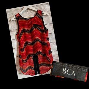 Red and Black BCX Sheer Hi-Lo Tank
